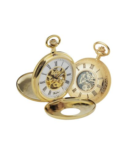 Mechanical Gold Plated Half Hunter Patterned Pocket Watch With Chain